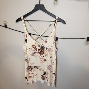 American Eagle Fall Floral Criss Cross Back Tank